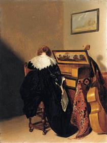 A Lady Seated at a Virginal - Питер Кодде