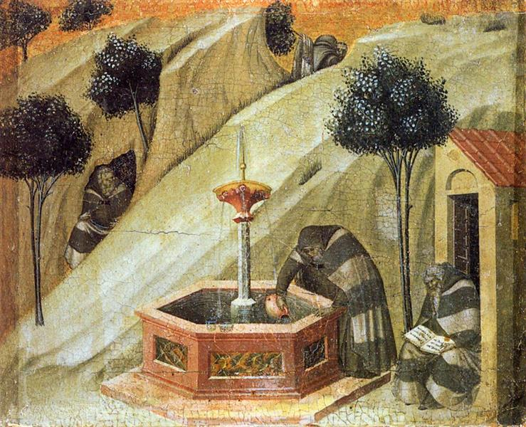 Predella Panel. Hermits at the Fountain of Elijah, 1329 - Pietro Lorenzetti