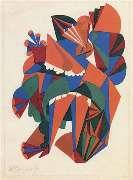 Lady with a Fan. Sketch of a Costume for the Ballet «Natural History», 1916 - Mikhail Larionov