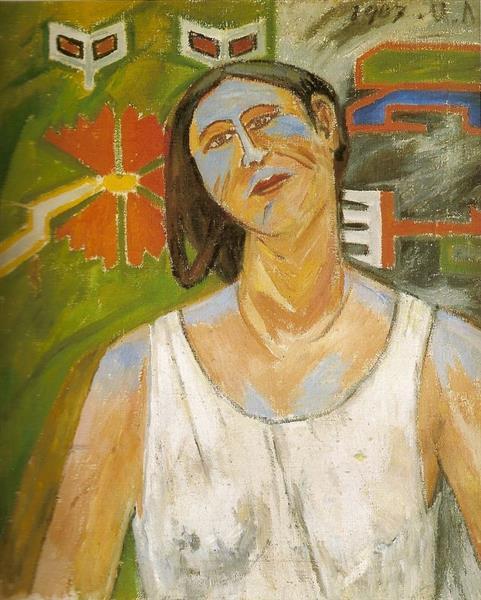 Portrait De Natalia Goncharova, 1907 - Mikhail Larionov
