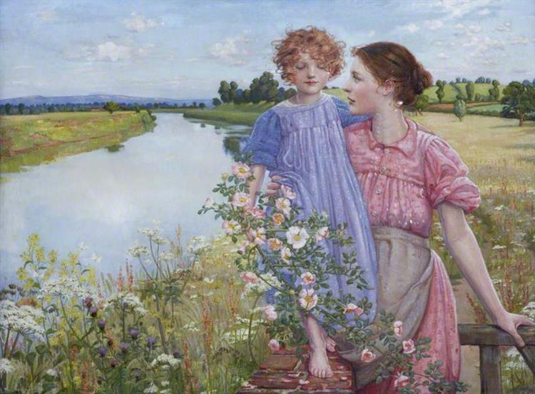 A Mother and Child by a River, with Wild Roses, 1919 - Mildred Anne Butler