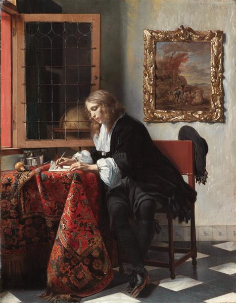 Man Writing a Letter, c.1664 - c.1666 - Габриель Метсю