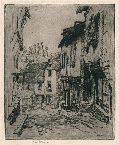 Aquafort Jerzual Street in Dinan (with Cat), 1908 - Józef Pankiewicz