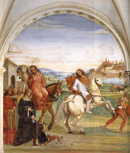 Life of St Benedict, Scene 1. Benedict Leaves His Parent's House, 1505 - 1508 - Il Sodoma