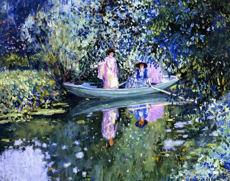Grey Day on the River (also Known as Two Ladies in a Boat), c.1908 - Frederick Carl Frieseke