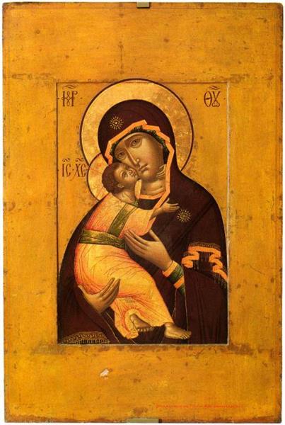 Our Lady of Vladimir. On the Turn - Calvary Cross, 1652 - Simon Ushakov