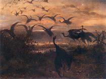 flight of cranes - Józef Chełmoński