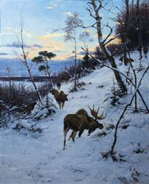 Moose in a Winter Landscape - Рихард Фризе