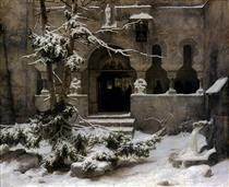 Monastery in snow - Carl Friedrich Lessing