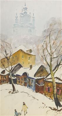 Зимний Киев (триптих, левая часть: Боричев Ток) - Yuriy Khymych