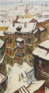 Зимний Киев (триптих, центральная часть: «На санках») - Yuriy Khymych