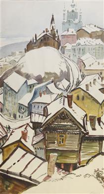 Зимний Киев (триптих, правая часть: «Вид со Старокиевской горы») - Yuriy Khymych