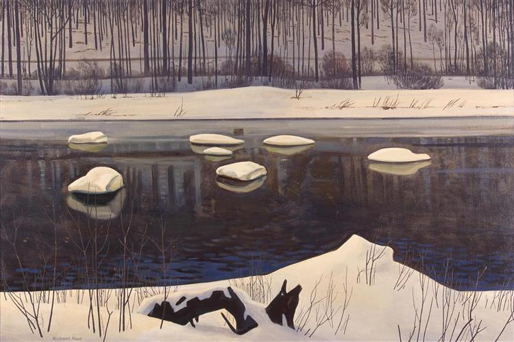 Au Sable River, Winter, Adirondacks, 1960 - Rockwell Kent