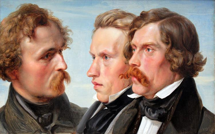 The Painters - Karl Friedrich Lessing, Carl Sohn and Theodor Hildebrandt, 1839 - Karl Lessing