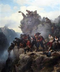 Riflemen Defending a Pass - Carl Friedrich Lessing
