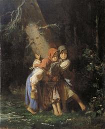 Peasant Girls in the Forest - Алексей Иванович Корзухин
