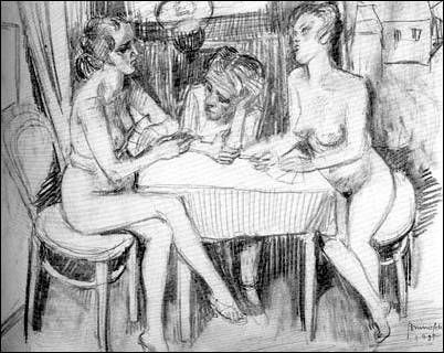 Self Portrait Between Two Naked Women, 1935 - Bruno Schulz