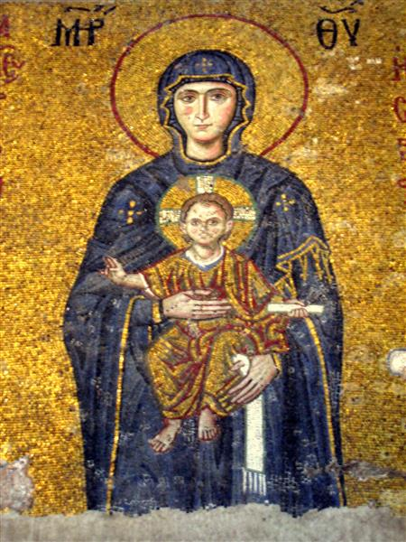 Mosaic (virgin and Child) from Hagia Sophia, c.1122 - Byzantine Mosaics