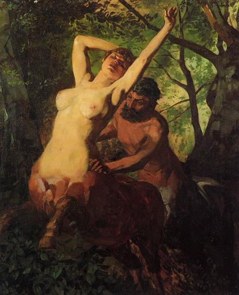 Centaur Couple in the Woods - Wilhelm Trubner