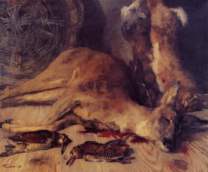 Still Life with Deer, Hare, and Snipes, c.1873 - Вильгельм Трюбнер