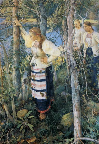 Neiet niemien nenissä, 1893 - Halonen, Pekka
