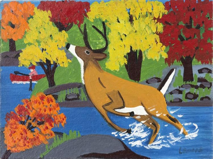 Deer in Stream - Maud Lewis