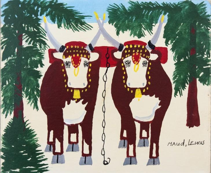Oxen in Winter - Maud Lewis