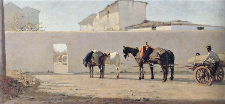 The white wall, 1864 - Telemaco Signorini