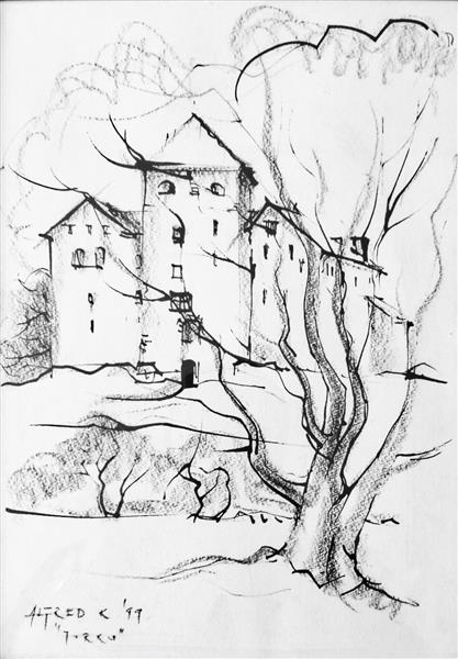 During my Finland trip (a quick sketch of the Turku Castle), 1999 - Alfred Freddy Krupa