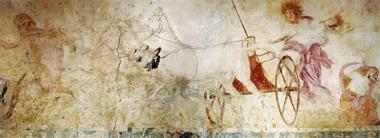 Hades Abducting Persephone, Fresco in the Small Royal Tomb at Vergina, Macedonia, Greece, c.340 BC - Ancient Greek Painting and Sculpture