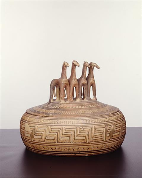 Attic Late Geometric Pyxis with Four Horses on the Lid. From Kerameikos, c.735 BC - Cerámica griega