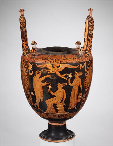Terracotta Lebes Gamikos (jar with Lid, Foot, and Handles Associated with Weddings), c.325 BC - Ancient Greek Pottery