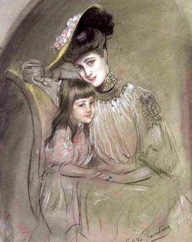Portrait De La Fille Klotz – Mère Et Enfant - Antonio de La Gándara