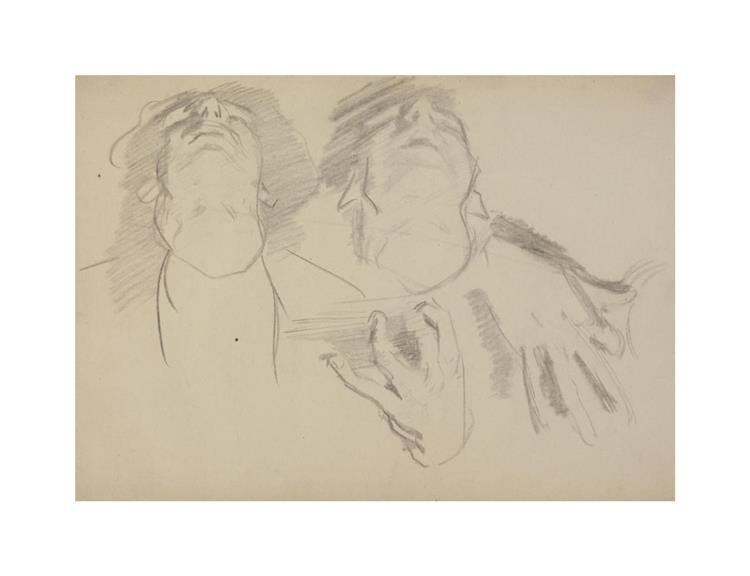 Head and hands of seated musicians (study for El Jaleo), 1880 - John Singer Sargent