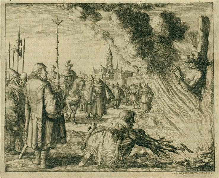 Burning of Clement the Scotchman, AD 756, 1684 - Jan Luyken