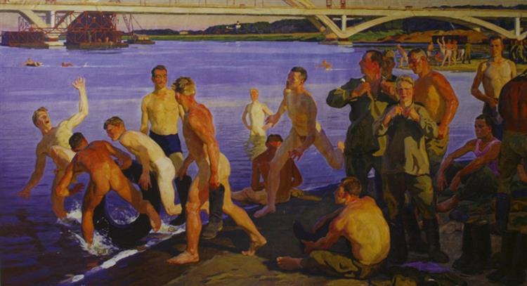 Bathing soldiers (the Builders of the bridge), 1960 - Dmitri Zhilinsky