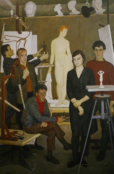Students. In the sculpture studio, 1966 - Dmitri Zhilinsky