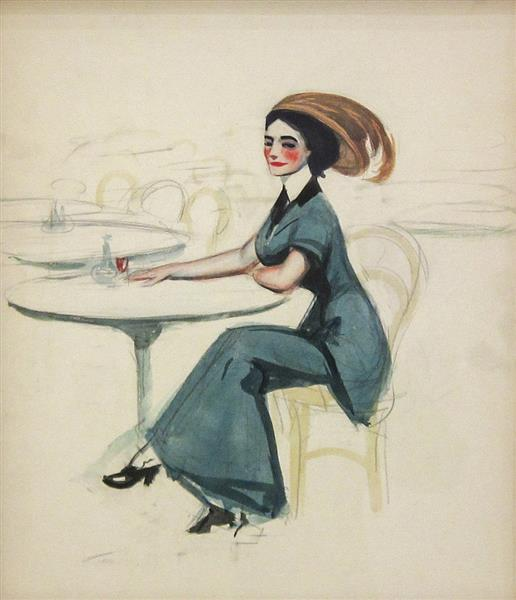 Woman at Café Table, 1906 - 1907 - Edward Hopper