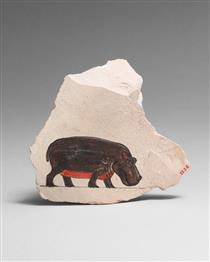 Artist's Painting of a Hippopotamus - Ancient Egyptian Painting