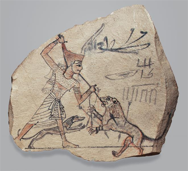 Artist's Sketch of Pharaoh Spearing a Lion, c.1186 - c.1070 BC - Ancient Egypt
