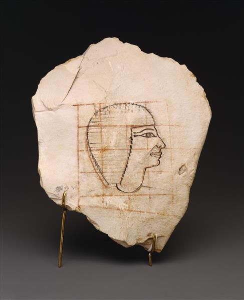 Artist's Gridded Sketch of Senenmut, c.1479 - c.1458 BC - Ancient Egypt