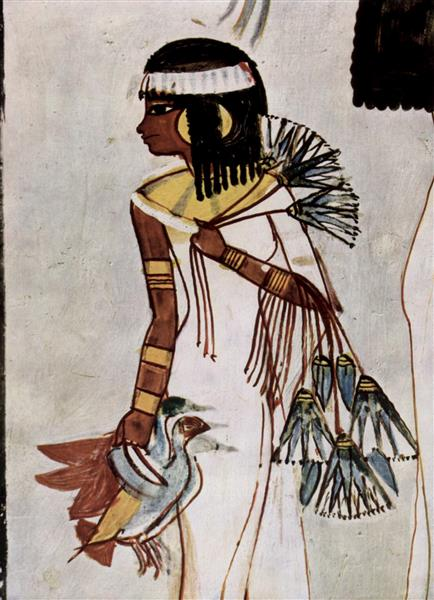 Hunting and Fishing, Detail. The Hunter's Daughter, c.1422 - c.1411 BC - Ancient Egypt