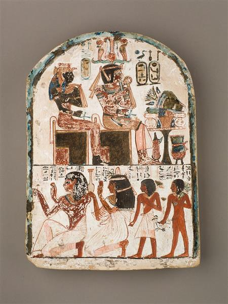 Stela of the Sculptor Qen Worshipping Amenhotep I and Ahmose Nefertari, c.1279 - c.1213 BC - Ancient Egypt