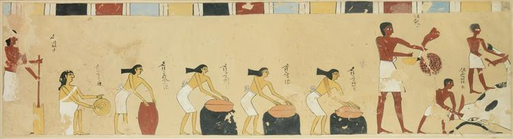 Women Preparing Food, Tomb of Djari, c.2060 - c.2010 BC - Ancient Egyptian Painting