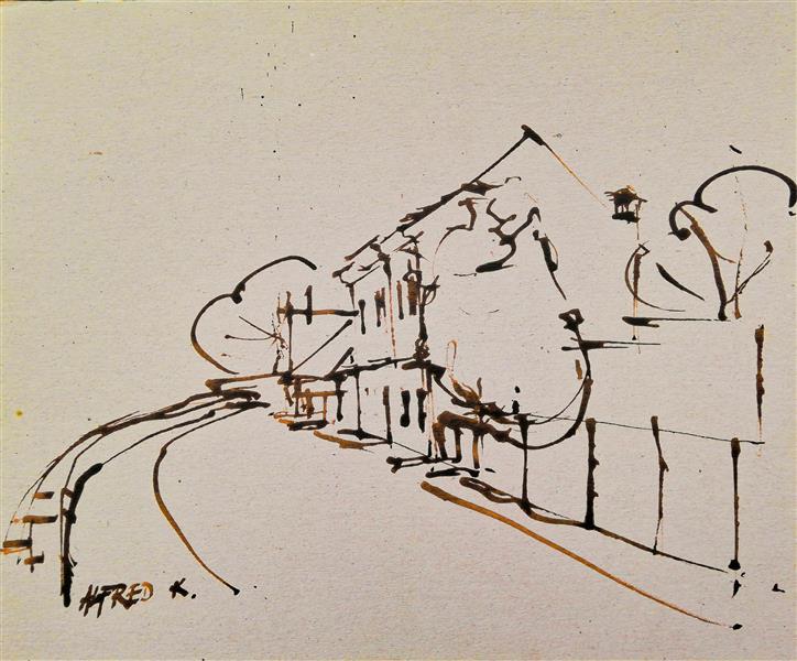 House on the bank of river Kupa, 1995 - Alfred Freddy Krupa