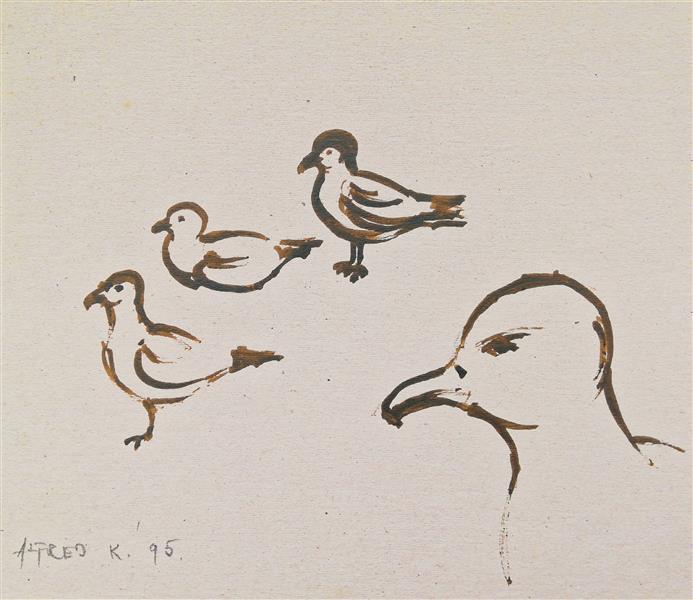 Gulls in Šilo, Island Krk (a turkey feather sepia drawing), 1995 - Alfred Freddy Krupa