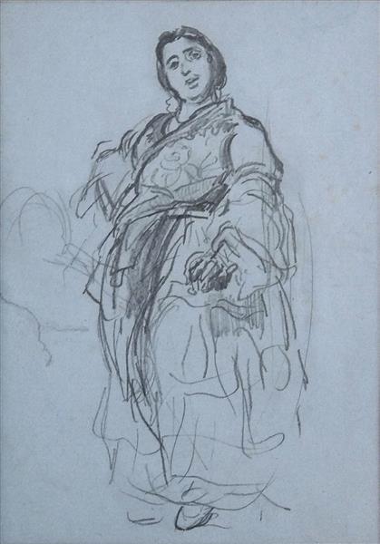 Bohémienne, sans doute étude pour le Tableau 'Bohémiennes marchandes de beignets', c.1856 - Alfred Dehodencq