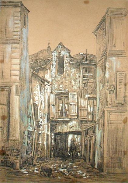 Fontenay Aux Roses, probablement la cour intérieure du 24 rue Boucicaut, c.1911 - Fernand Combes