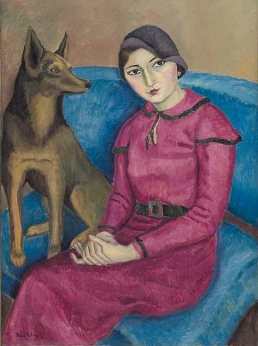 portrait of woman with dog - Nina Arbore