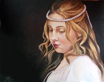 22, Girl with Pearls,16x20in, 2017, Oil,Sv - Lana Kanyo